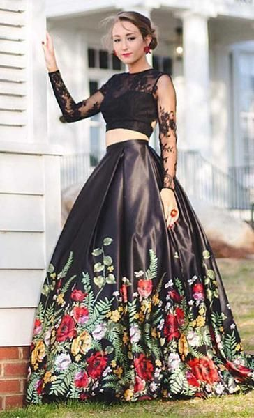 195d1c412dabc Two Pieces Long Sleeves Open Back Inexpensive Long Prom Dresses with Flowers