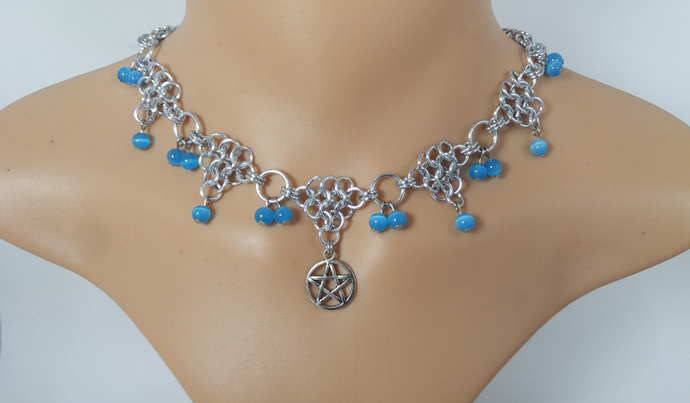 Wicca, Wiccan, Witch, Witchcraft, Pagan, Pentacle, chainmaille, choker