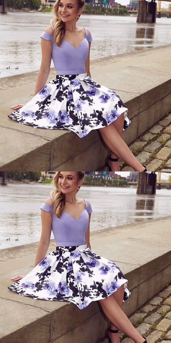 d0d32f86f60a Cold Shoulder Two Piece A-Line Floral Print by PrettyLady on Zibbet