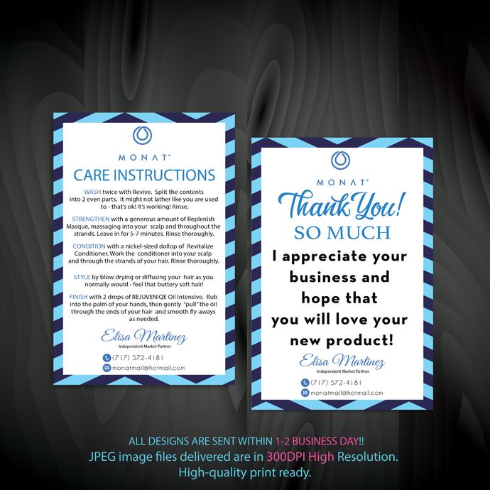 Monat Thank You Card, Monat Cards, Custom Monat Card, Monat Care Instruction