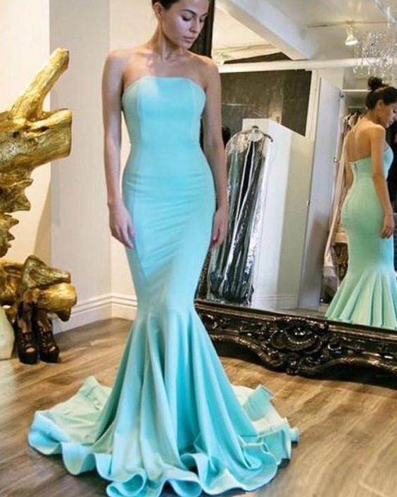 127ce21a3d47 Simple Strapless Satin Cyan Mermaid Style Prom by PrettyLady on Zibbet