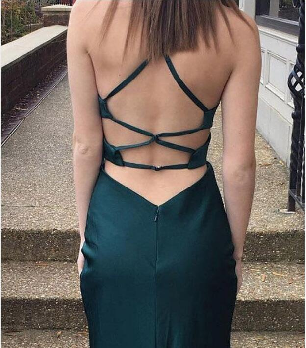 sexy long,cross back, long evening dress,floor length prom dress, Prom Dresses