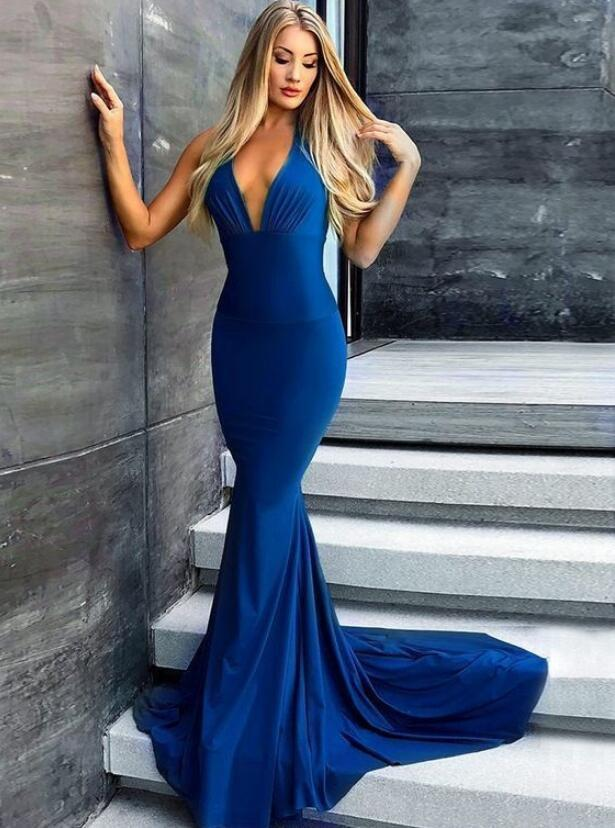 Mermaid V-Neck Long Royal Blue Satin Prom Party Dress