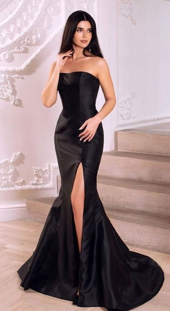 2000df458487 Simple Strapless Mermaid Black Long Evening by PrettyLady on Zibbet