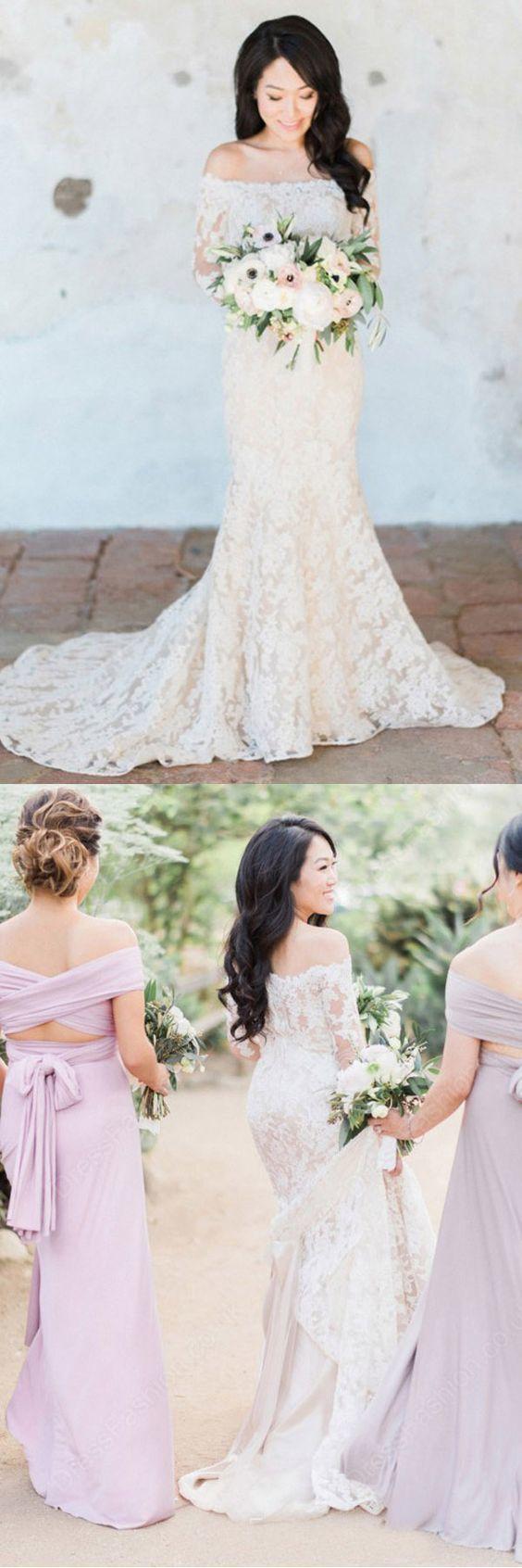 Gorgeous Off Shoulder White Lace Long Sleeves Mermaid Wedding Dress