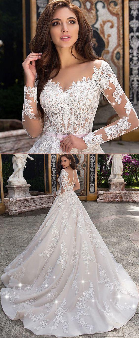 Fabulous Tulle Sheer Bateau Neckline See-through Bodice A-line Wedding Dress