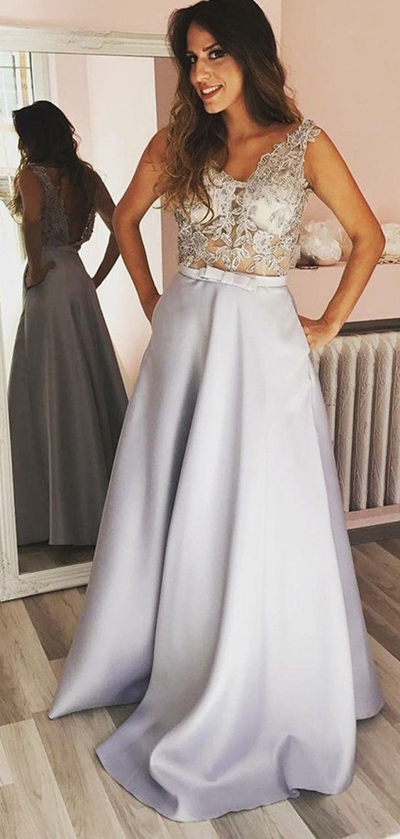 Sexy Lace See Through Grey A-line Long Evening Prom Dresses