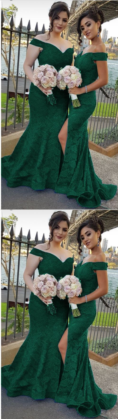 Green bridesmaid dresses, v-neck off the shoulder mermaid formal gowns for
