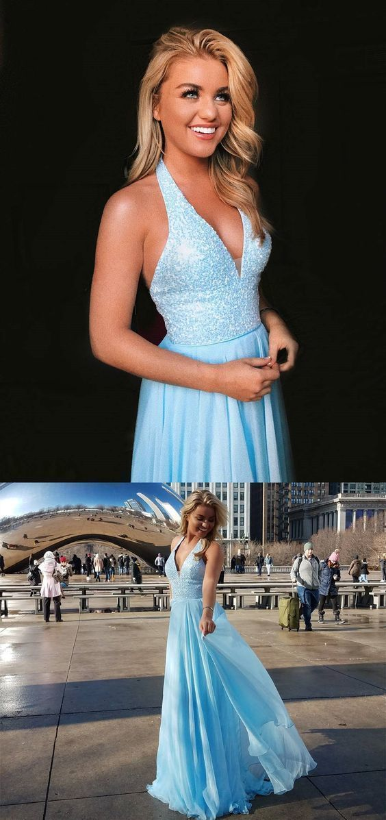 Halter hunter prom evening gowns with beaded, fashion formal evening gowns,