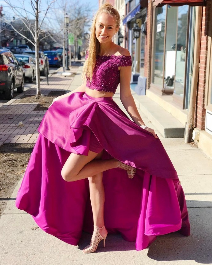 Elegant Two Piece Off the Shoulder Fuchsia Long Party Dress