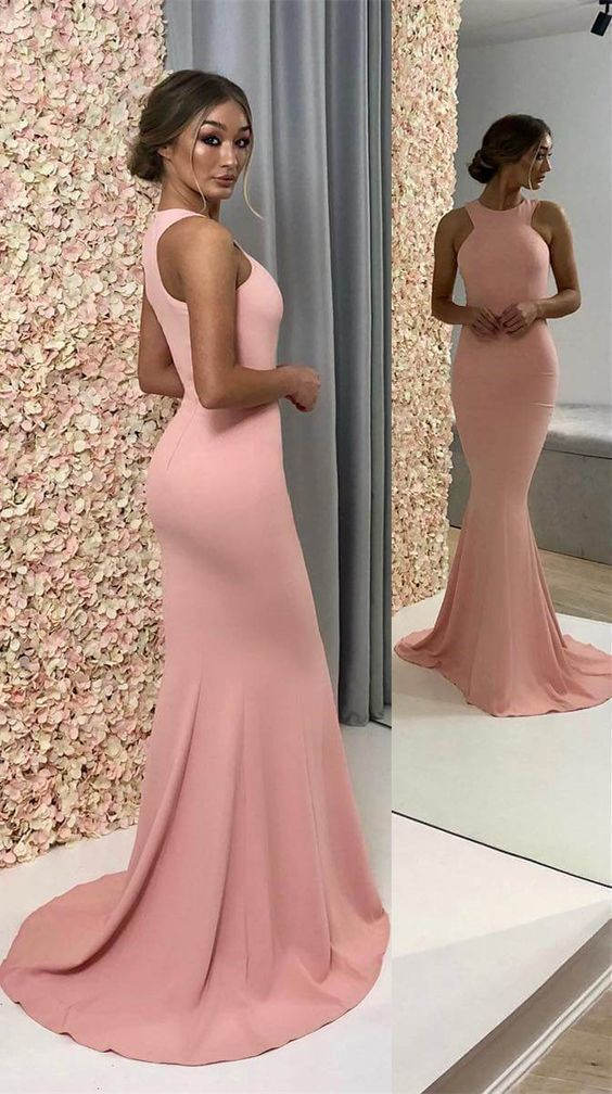 Gorgeous Crew Pink Mermaid Long Evening Dress Prom Dresses