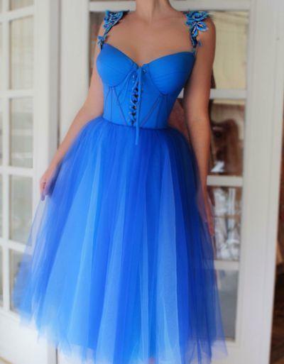 Short homecoming dress,blue prom dress,party dress,strap evening dress