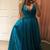 A line Teal Elegant Prom Dress V neck Pageant Dress