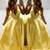 Yellow Satin Backless Long Prom Dresses Sexy V neck Formal Gowns 2019 G5894