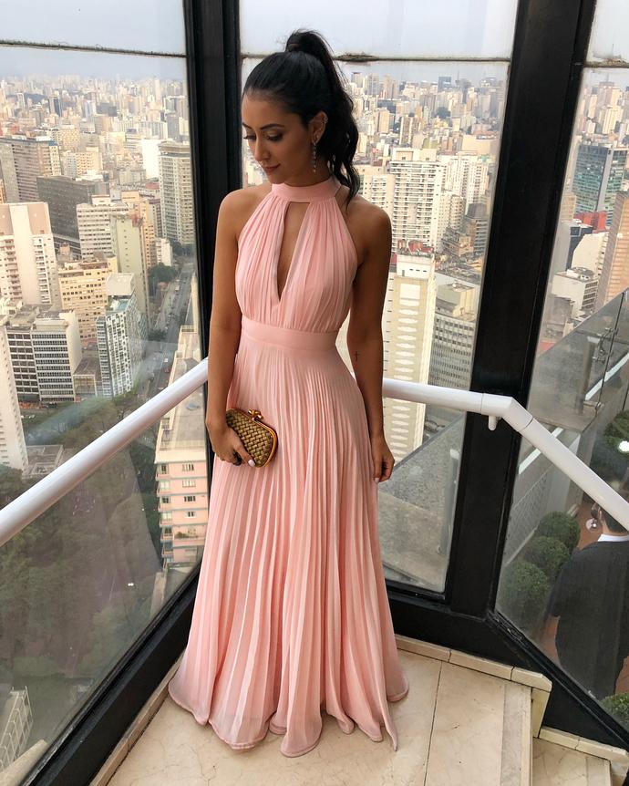 3e87355155604 Simple Pink Halter Chiffon Prom Dress