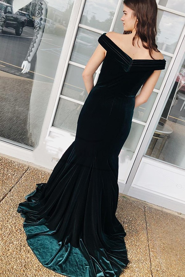 Dark Green Mermaid Off the Shoulder Velvet Long Prom Dress,2019 Evening Dress