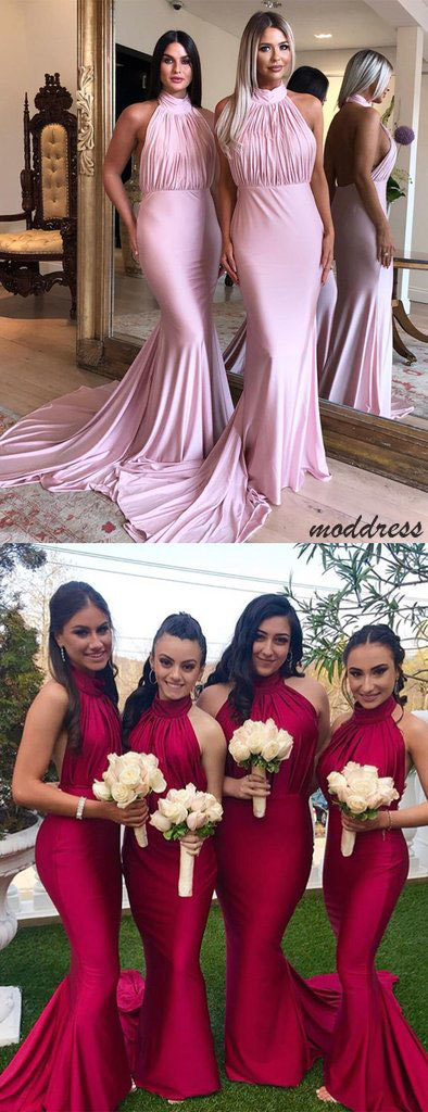 Halter Backless Mermaid Bridesmaid Dresses BD1872
