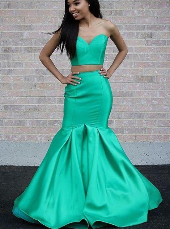 Green Two Piece Prom Dresses,Satin Mermaid Prom Dress,Sweetheart Prom Dress