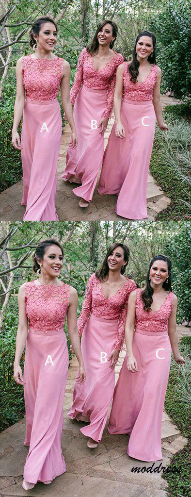 Lace Mismatched Sheath Bridesmaid Dresses BD1873