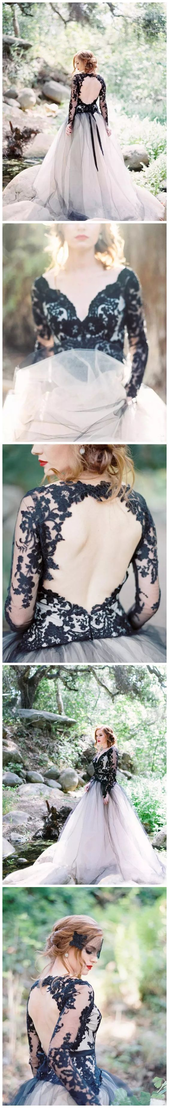 A-line V neck Long Sleeve Black Lace Gorgeous Wedding Dress Modest Bride Gowns