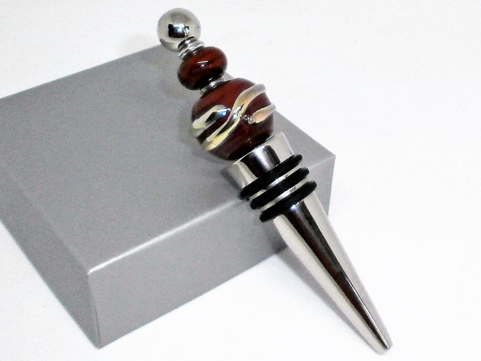 Wine Stopper with Handmade Glass Beads 1 of 2