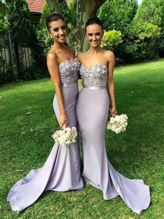 Sweetheart Neck Mermaid Strapless Sweep Train Lace Lavender Prom Dresses With Appliques Lavender Bridesmaid Dresses Formal Dresses G7820