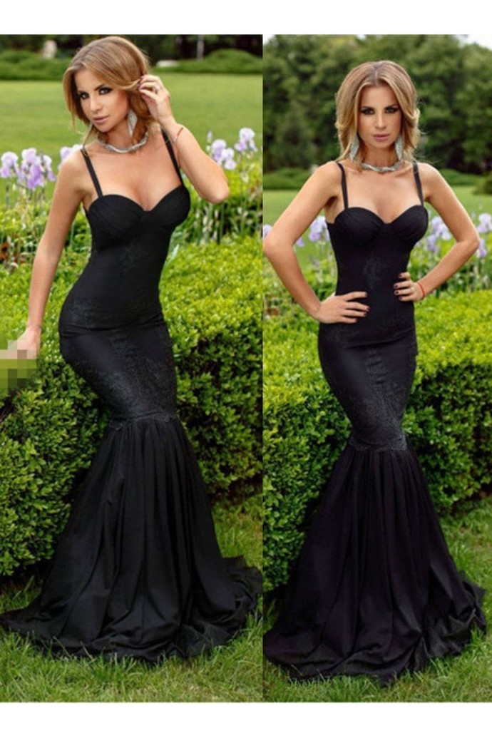 2019 Black Prom Dresses Mermaid Lace Sweetheart Sexy Evening Dress tulle Formal