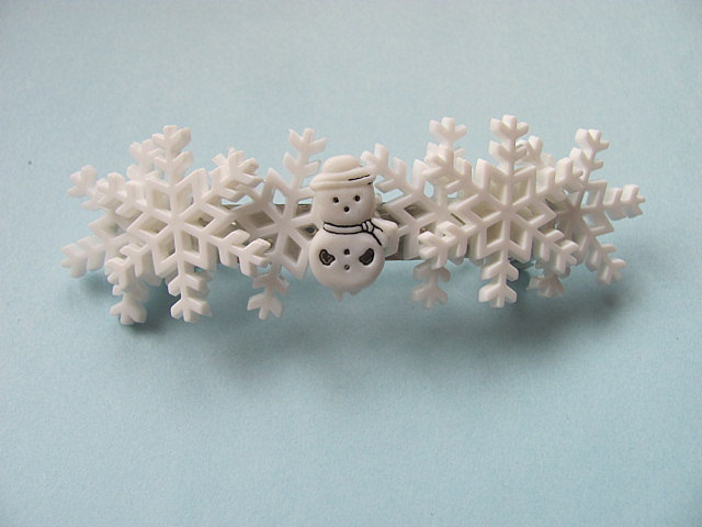 Snowflake Button Barrette FREE US Shipping