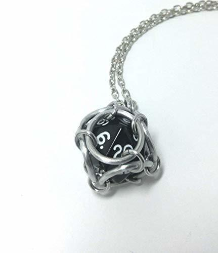 Dice necklace, chainmaille D20 pendant, geek jewelry, pathfinder gift