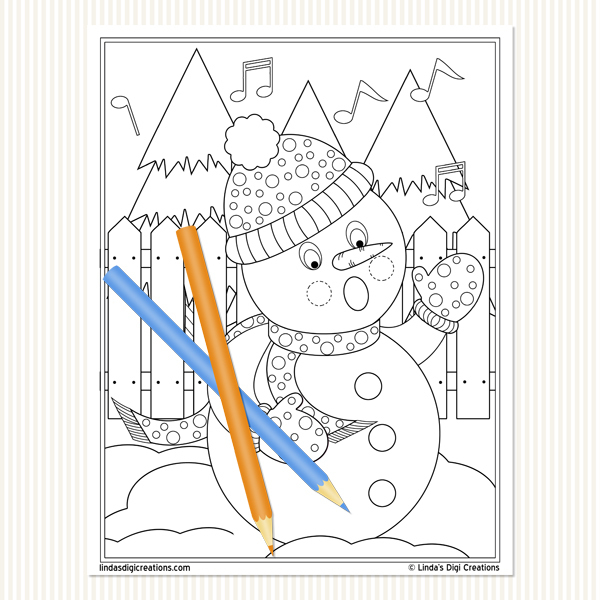 Caroling Snowmen _ Printable Adult Coloring Pages