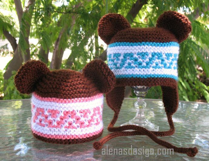 Knitting Pattern 018 Beanie Ear Flap Hats with Bear Ears Knitting Patterns