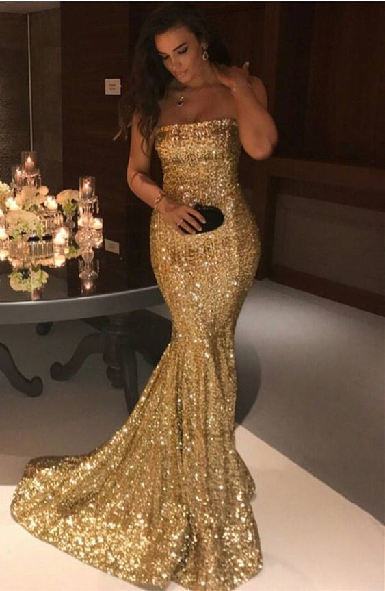 e7b393438c5f Mermaid Prom Dress Evening Gowns Glitter Long Gold Sequins Strapless Formal