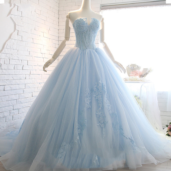 961a9640aa9a Light Blue Prom Dresses,Tulle Prom Gown,Strapless Prom Dress,Ball Gown Prom