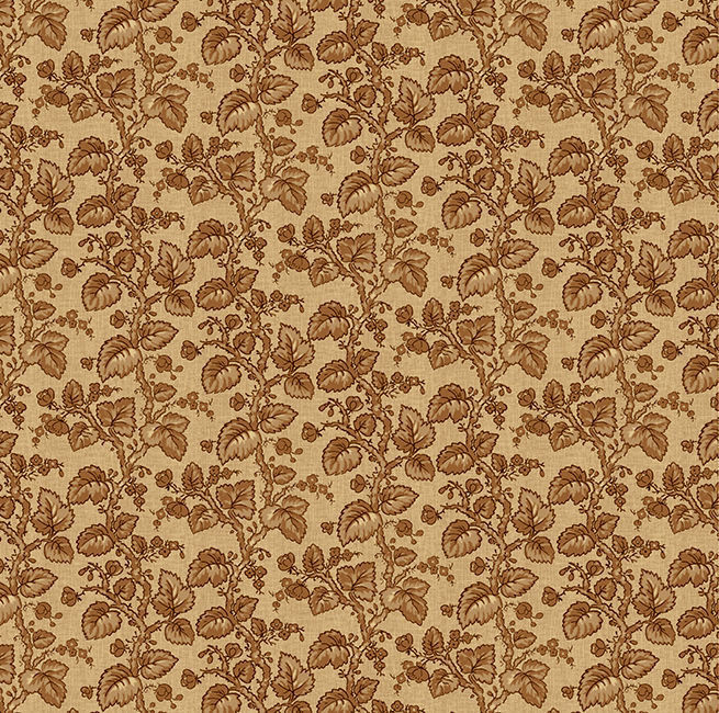 Yardage Cotton Quilt Fabric Vineyard Branches Leaves Taupe Brown Tan