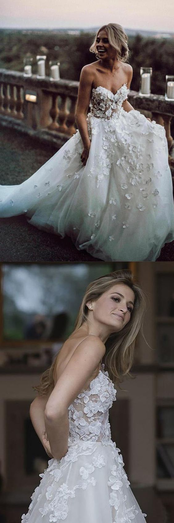 Sweetheart Neck Tulle Wedding Dresses Appliqued Wedding Gowns