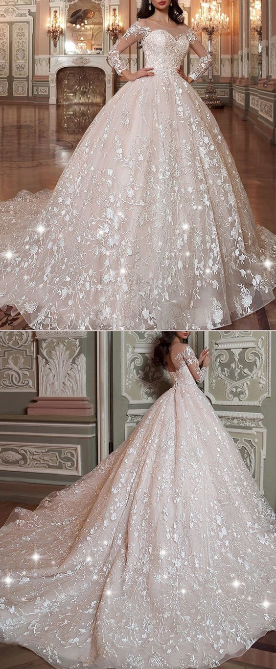 8bd3fe060df Attractive Tulle   Organza Scoop Neckline Ball Gown Wedding Dress With Lace