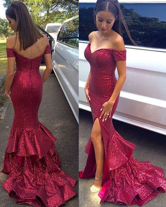da13784ce14 Long off the shoulder red sequined prom dress