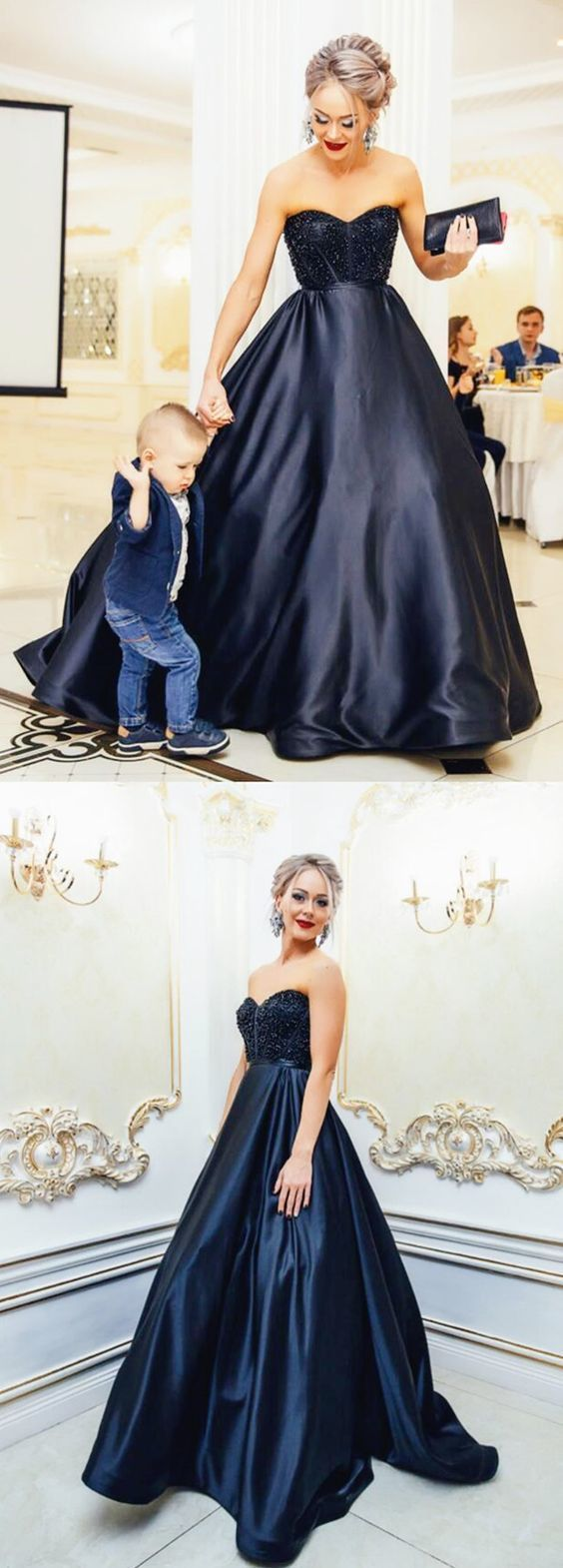 elegant long prom dress,formal evening dress, black prom dress