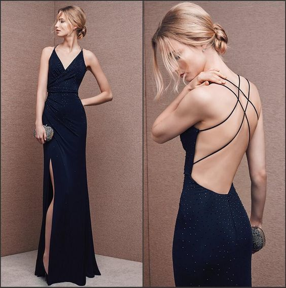 343df40f95ffc Sexy V Neck Backless High Slit Long Navy Blue Chiffon Evening Prom Dress