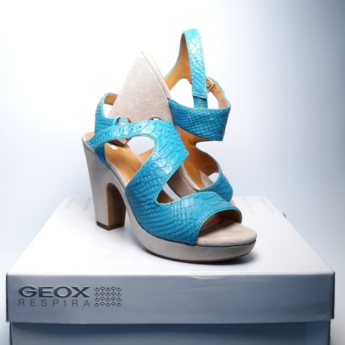 Turquoise high heeled elegance. Geox Nurit sandals, size 41