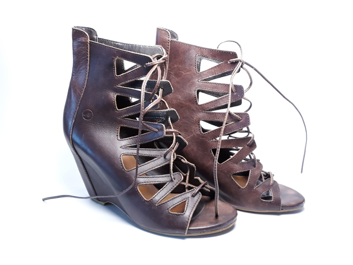 When gladiators go chique... They might want to wear these high heeled sandals.