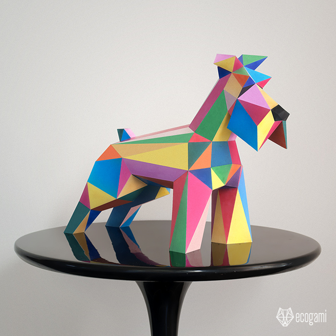 Low poly Schnauzer sculpture | DIY 3D papercraft | Printable PDF pattern | Gift
