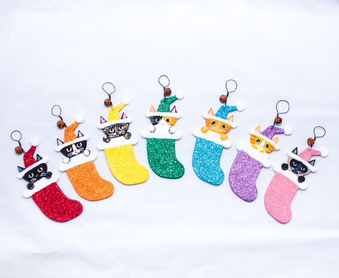 Glittery Cat in Stocking Christmas Folk Art Clay Ornament