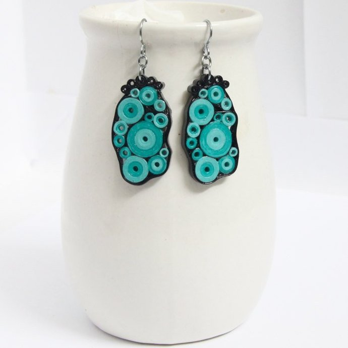Retro Earrings Aqua Turquoise and Black Circles OOAK with Niobium Earring Hooks