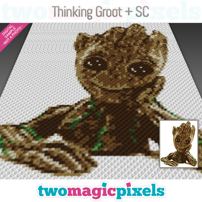 Thinking Groot graph for crochet (SC, HDC, DC); instant PDF download; SC