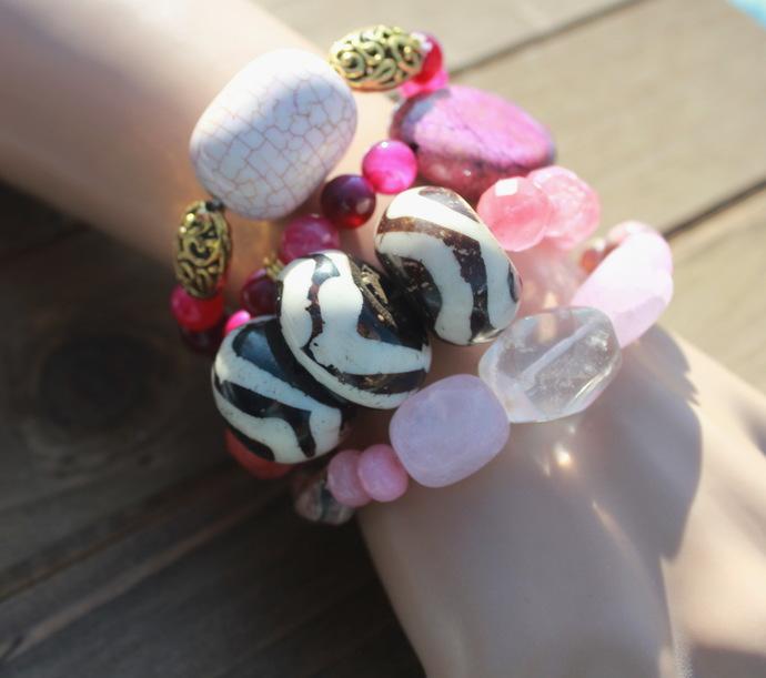 Bohemian Tribel Stacking Bracelet Set of 4 Stretch Animal & Rose