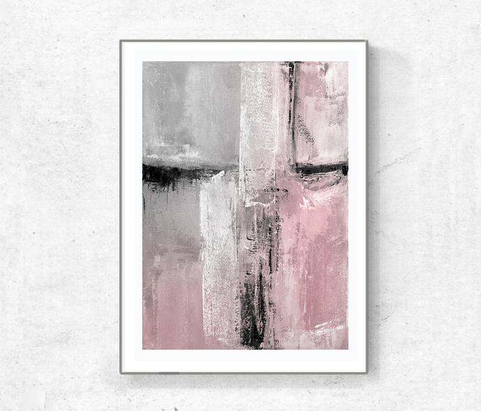 Set of 2 Prints, Downloadable, gray pink black white, set blush pink painting,