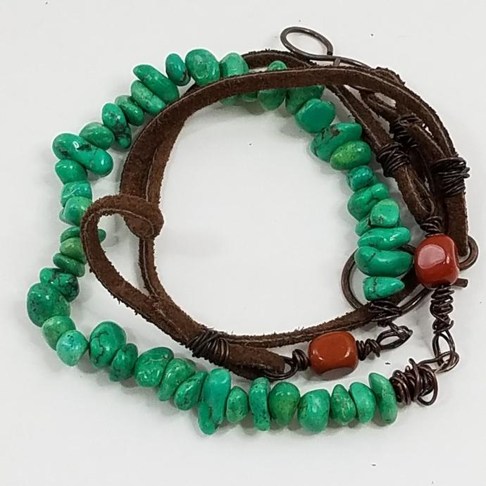 Bohemian Leather and Gemstone Wrap Bracelet, Red Jasper, Green Magnesite