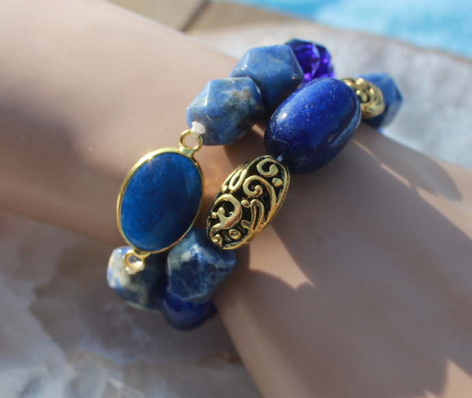 Blue Bracelet Set Lapis Sodalite & Czech Crystal Gemstone Jewelry by KnottedUp
