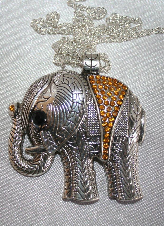 Large Tibetan Silver Crystal Rhinestone Elephant Pendant, Antique Silver Animal
